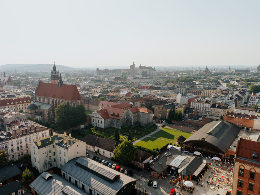 widok na Kraków z lotu ptaka