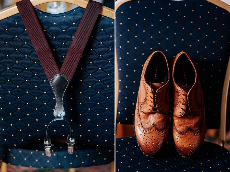 rustykalne buty dla pana młodego, szelki