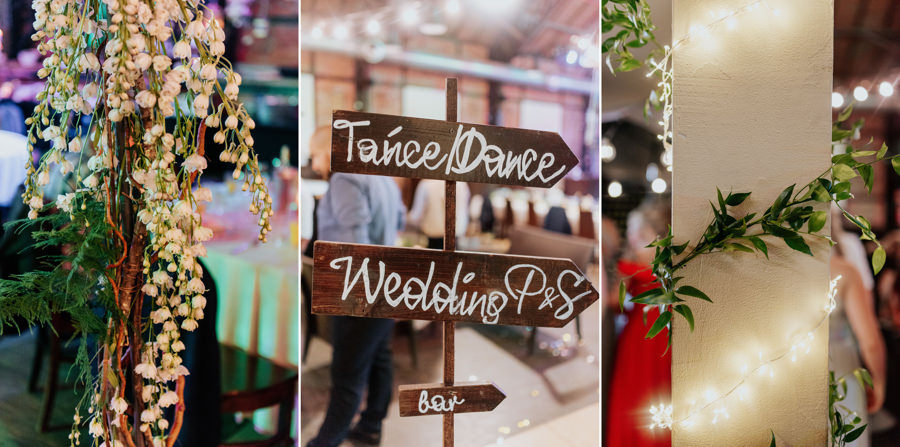 Detale ślubne, industrialne wesele w Starej Zajezdni