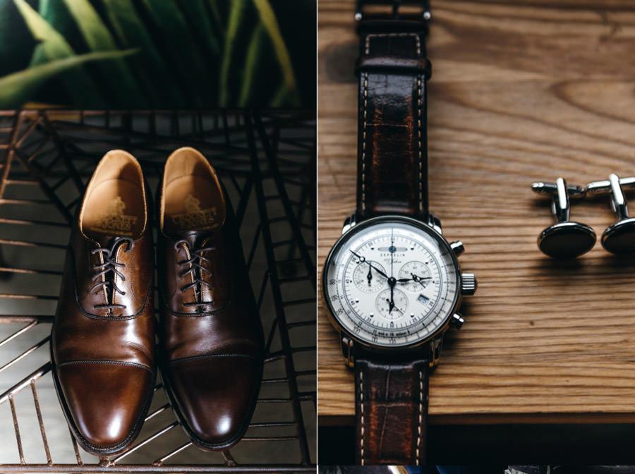buty i zegarek pana młodego, detale ślubne, spinki ślubne