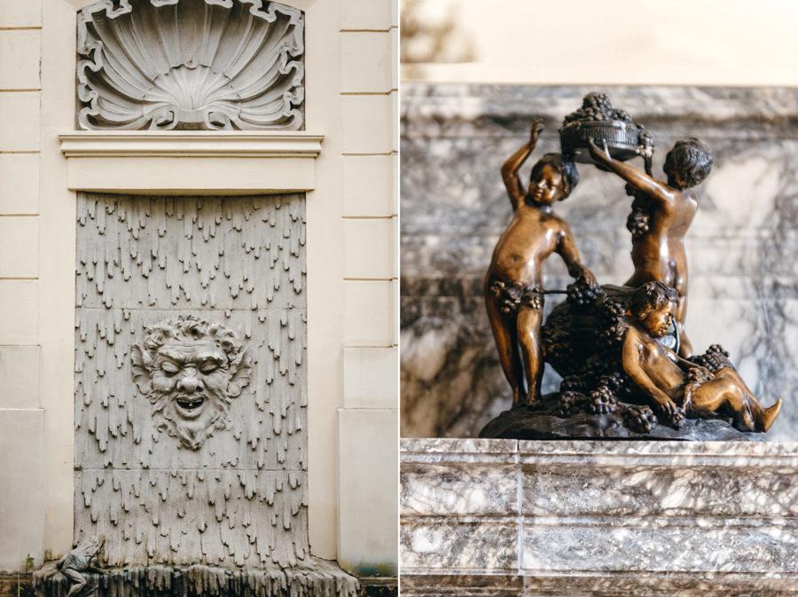 detale, rzeźby w pałacu goetza w brzesku