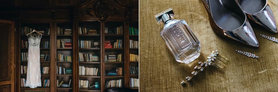 suknia panny młodej, biblioteka pałacu goetza w brzesku, detale ślubne, buty ślubne, perfumy