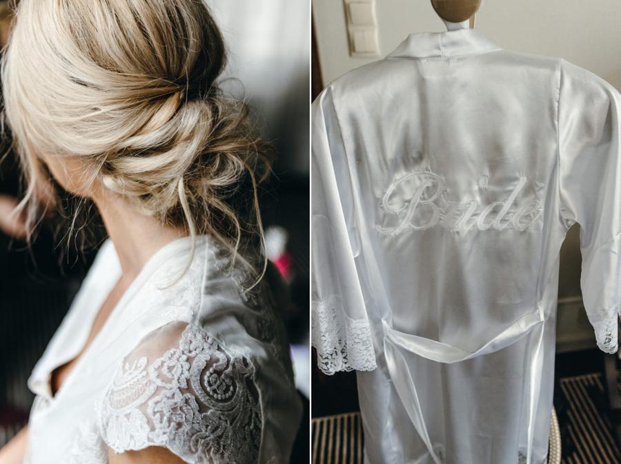 fryzura panny młodej, przygotowania do ślubu, szlafrok panny młodej