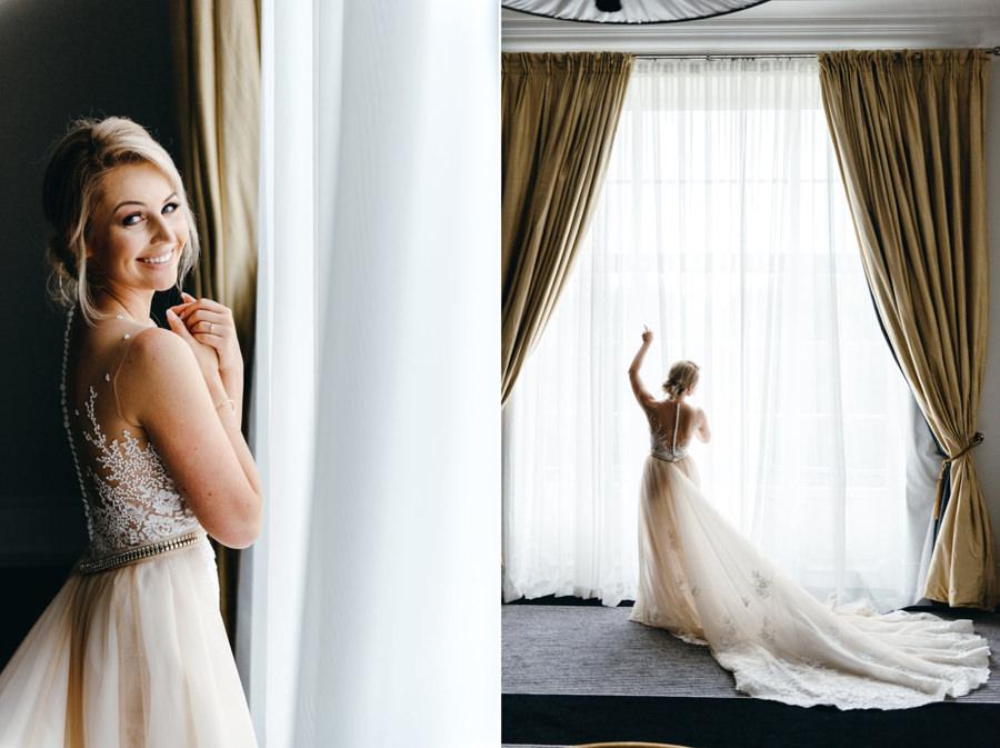 portret panny młodej, piękna suknia ślubna, eleganckie wesele w pałacu goetza