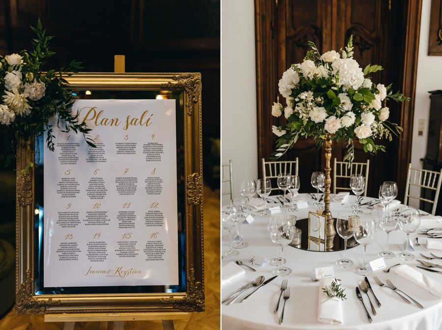pałac goetza, brzesko, wnętrza, dekoracje ślubne, detale, eleganckie wesele w pałacu goetza