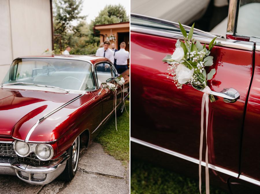 detale ślubne, eleganckie wesele, kabriolet, cadillac