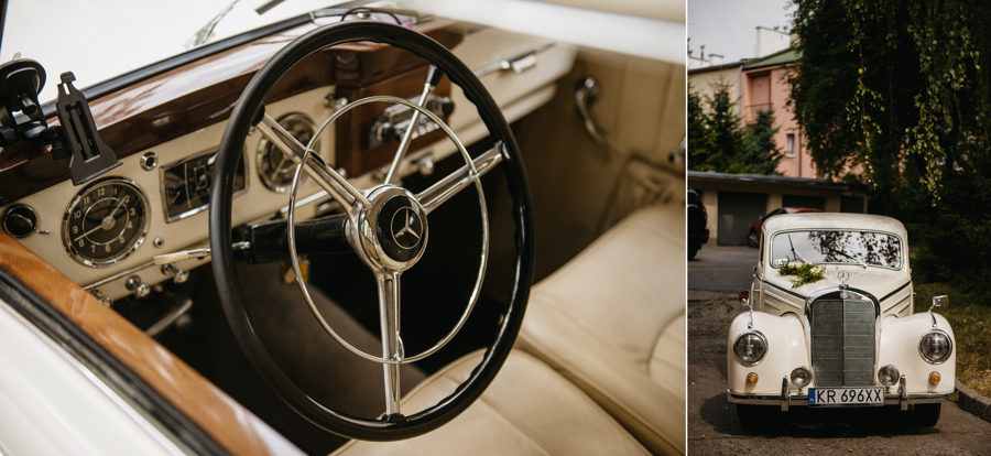 elegancki stary mercedes, klasyk, youngtimer, kierownica auto do slubu, mercedes W87