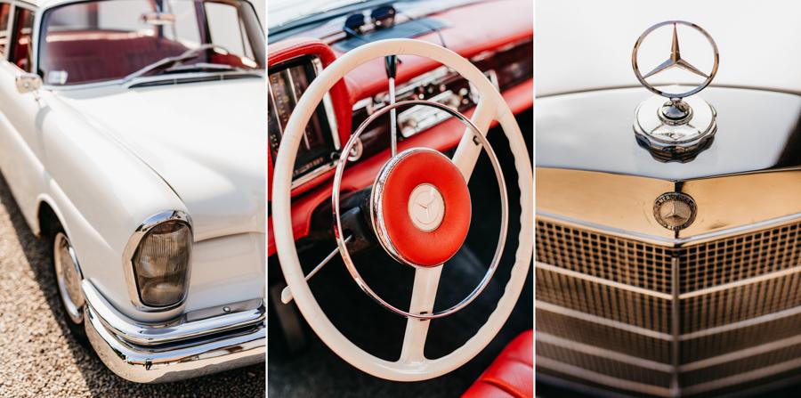 biały mercedes, do ślubu, samochód, retro, czerwona tapicerka, Mercedes W111 detale