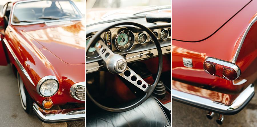 klasyk, volvo P1800S, detale, retro samochód, unikat, auto do ślubu