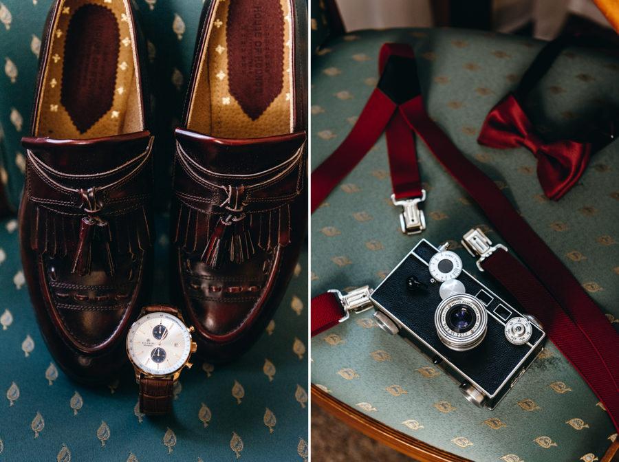 detale ślubne, buty pana młodego, szelki dla pana młodego