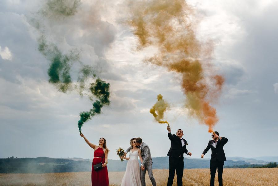 race dymne na weselu, sesja z racami