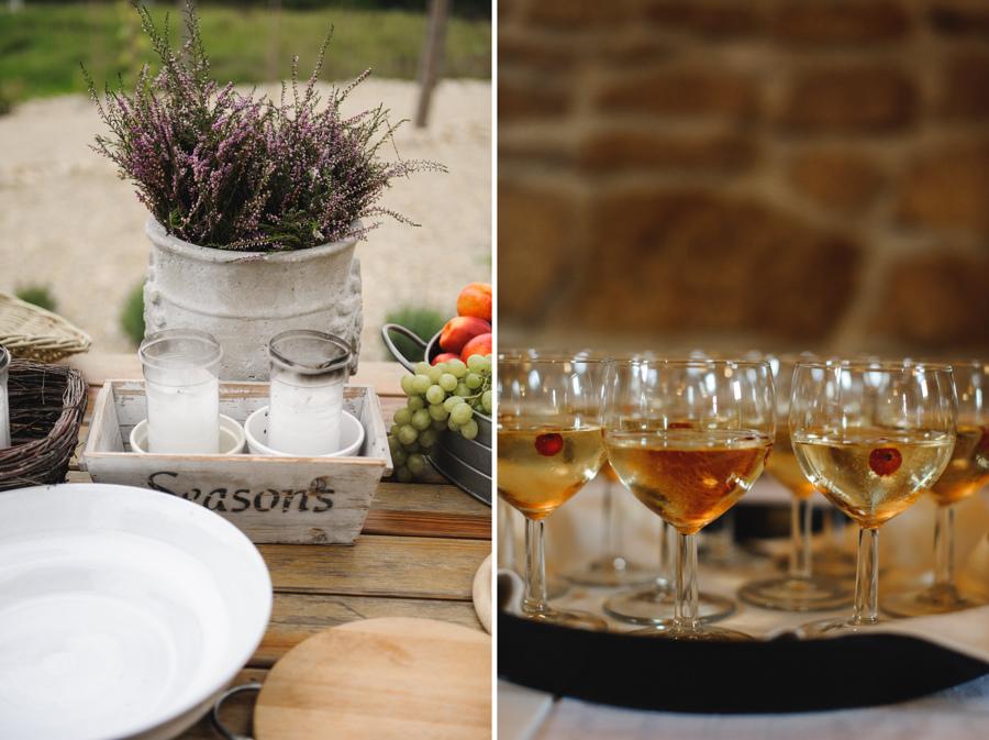 kieliszki wino szampan dekoracje kwiaty