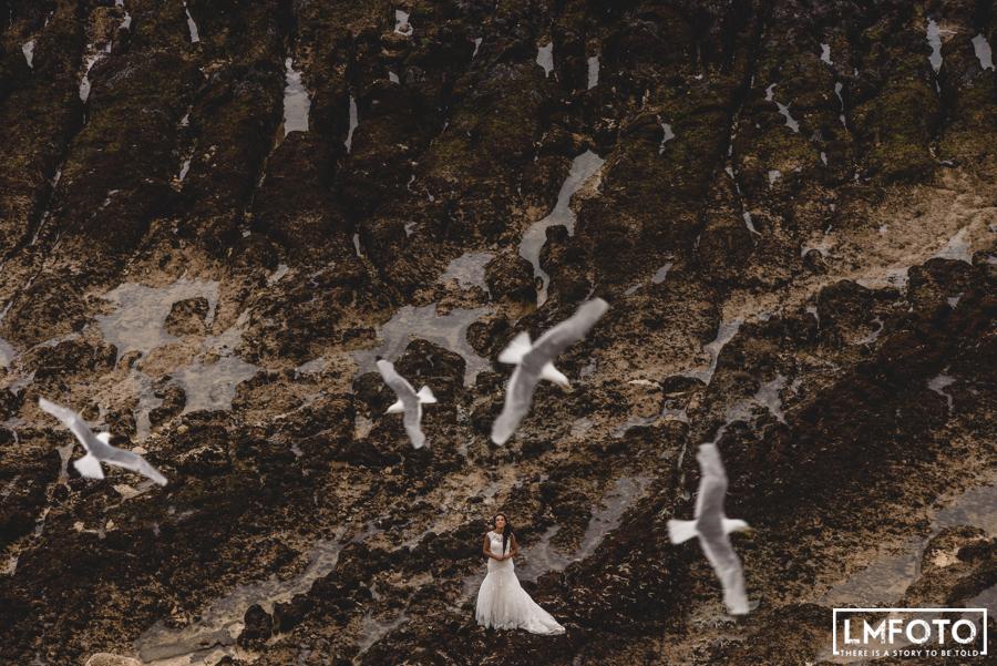 ptaki fotografia slubna skaly woda