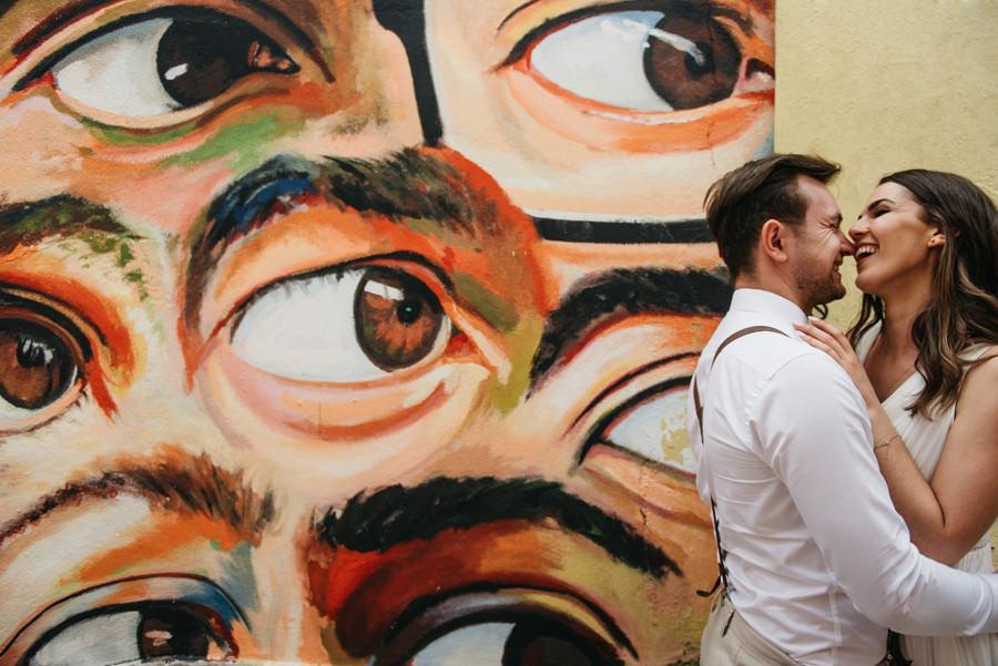 oczy mural para mloda wzrok