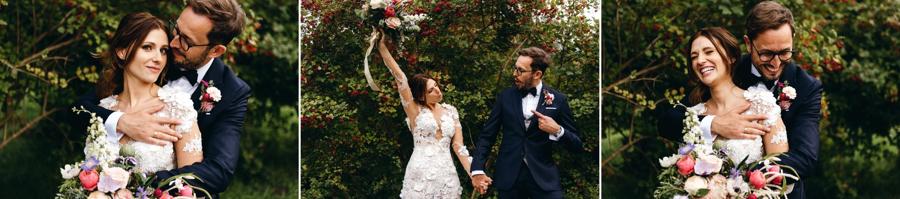 szalona para młoda, sesja w dniu ślubu, radość, emocje, miłość , stodoła wszystkich świętych