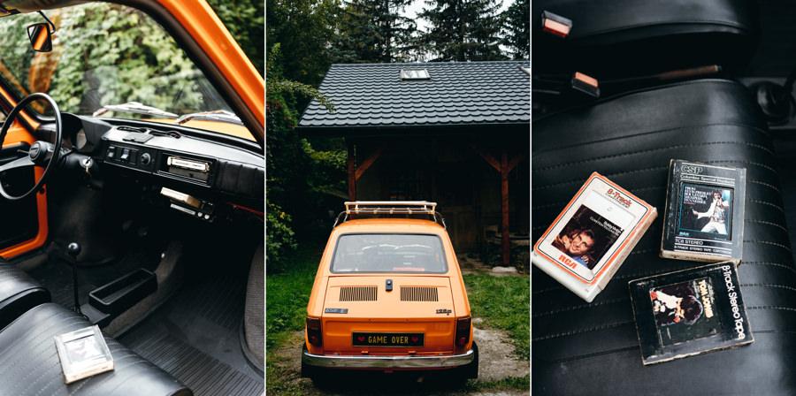 pomarańczowy maluch, zabytek, oldschoolowe auto do ślubu