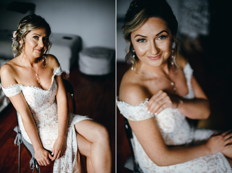 suknia pani młodej, detale ślubne, fotograf ślubny Dobczyce, portret panny młodej