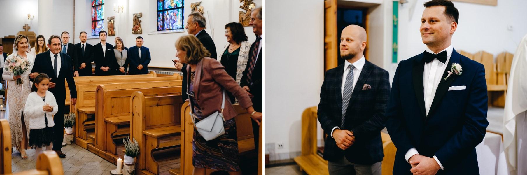panna młoda wprowadzana przez tatę do ołtarza, fotograf Dobczyce