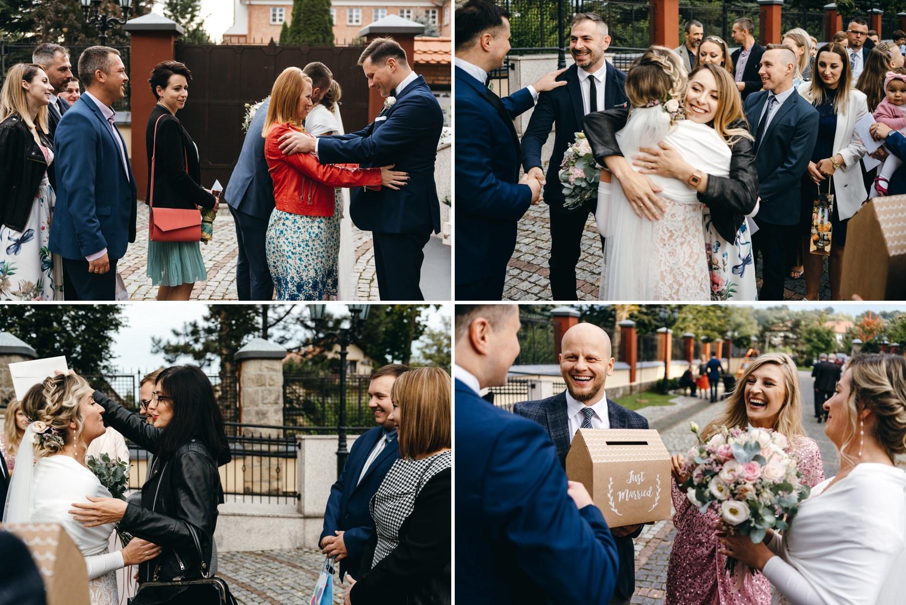 życzenia dla nowożeńców, przytulenia, pocałunki, emocje