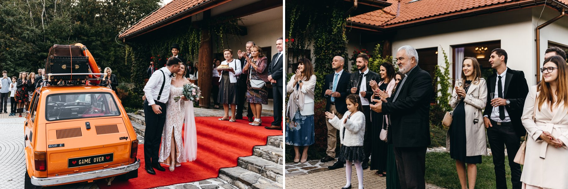 para młoda podjeżdża pod dwór kociołek, wesele w dworze kociołek, przywitanie pary młodej