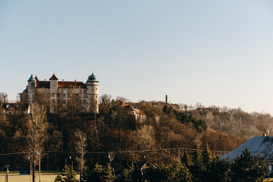 widok na zamek w Nowym Wiśniczu, Hotel Panorama, wesele w sali Garden