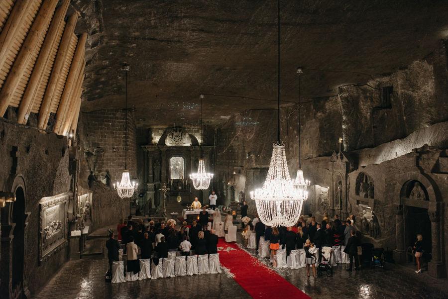 ceremonia w kopalni, kopalnia soli w wieliczce, piękne wesele w wieliczce