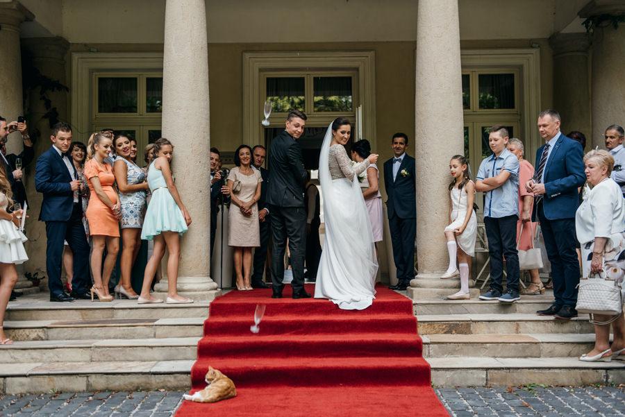 dwór sieraków wesele, powitanie pary młodej