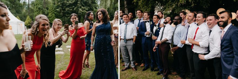 druhny i drużbowie na weselu, dwór sierakó, wesele pod namiotem