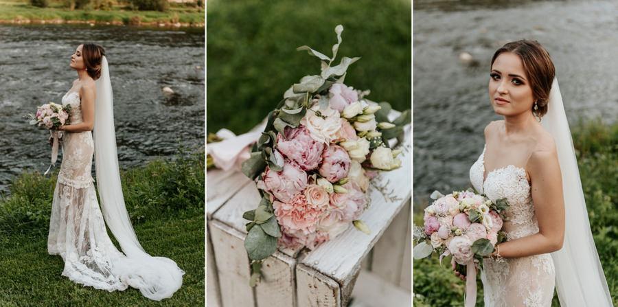 sesja obok Willa Poprad, sesja nad rzeką, plener ślubny w dniu wesela, bukiet ślubny, portret panny młodej