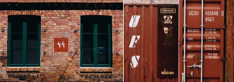 soho factory, Warszawa, industrialna sesja, kontenery, ściana z cegieł