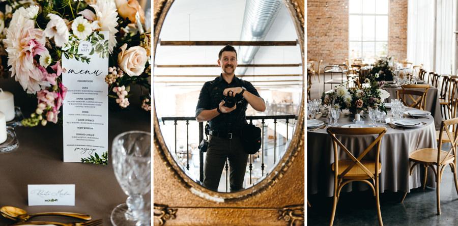 ślub w villa love, piękne wnętrza, rustykalne wnętrze, rustykalne krzesła, papeteria z menu