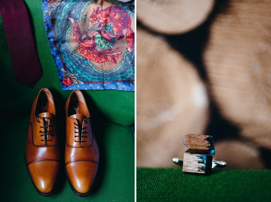 buty pana młodego, spinki, detale ślubne