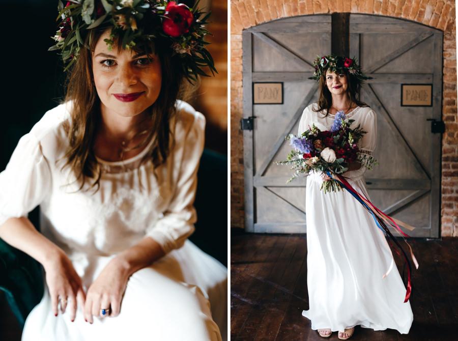 stara kruszarnia, ślub w plenerze, wnętrze starej kruszarni, portret panny młodej